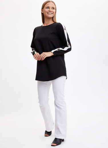 DeFacto Şerit Detaylı Tunik Siyah